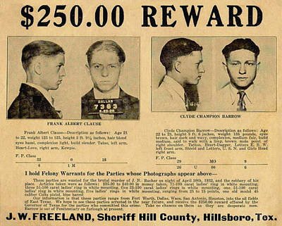 Clyde Barrow Wanted Poster Print by Bill Cannon