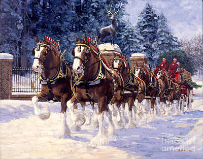 Clydesdale Hitch Grants Farm Winter Art Print by Don  Langeneckert