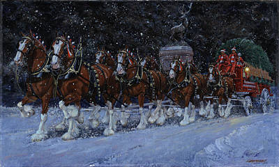 Clydesdales Coming Through The Gate Snowing Art Print