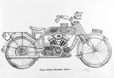 Primitive Drawing - Clyno-harley-davidson by Stephen Brooks