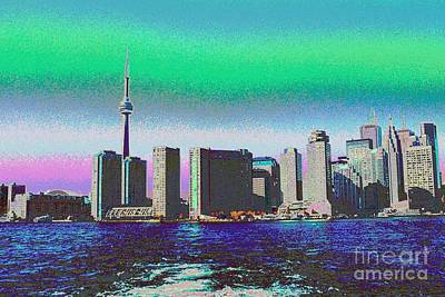 Painting - Cn Tower Toronto View From Centre Island Downtown Panorama Improvised With Graphic Artist Tools Pain by Navin Joshi