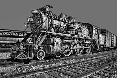 Railway Locomotive Photograph - Cnr Number 47 Bw by Susan Candelario