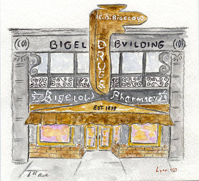 Painting - C.o. Bigelow Pharmacy by AFineLyne