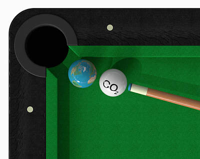 Photograph - Co2 Cue Ball About To Hit Globe Ball by Ikon Images