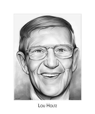 Sports Drawings - Coach Lou Holtz by Greg Joens