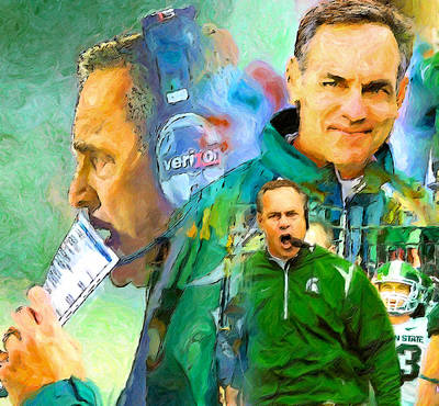 Michigan State Painting - Coach Mark Dantonio by John Farr