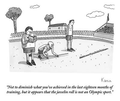 Olympics Drawing - Coach Reads From Book As Two Athletes Practice by Zachary Kanin