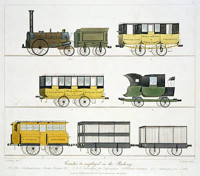 Northumbrian Drawing - Coaches Employed On The Railway, Plate by Thomas Talbot Bury