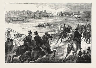 University Drawings Drawing - Coaching,  A Sketch At Chiswick, The Boat Race Is An Annual by English School