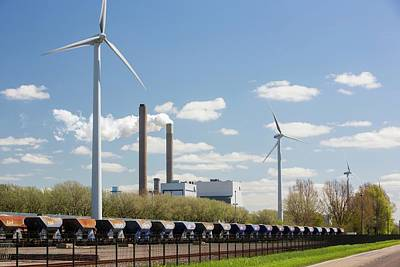 Coal Fired Power Station And Wind Turbine Art Print
