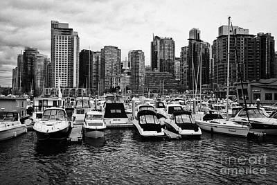 coal harbour marina and high rise apartment condo blocks in the west end Vancouver BC Canada Art Print by Joe Fox