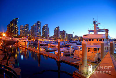 Vancouver At Night Photograph - Coal Harbour Marina At Dusk by Terry Elniski