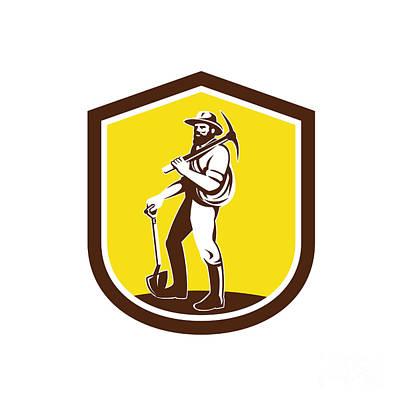 Pick Axe Digital Art - Coal Miner Carry Pick Axe Shoulder Retro by Aloysius Patrimonio