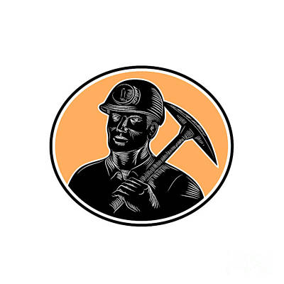 Digital Art - Coal Miner Carry Pick Axe Woodcut  by Retro Vectors