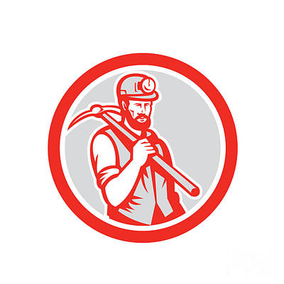 Pick Axe Digital Art - Coal Miner Hardhat Holding Pick Axe Circle Woodcut by Aloysius Patrimonio