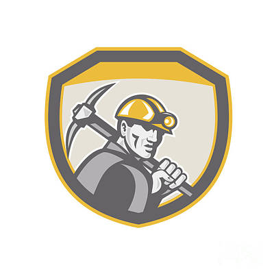 Pick Axe Digital Art - Coal Miner Hardhat Holding Pick Axe Shield Retro by Aloysius Patrimonio