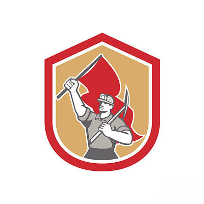 Pick Axe Digital Art - Coal Miner Hardhat Pick Axe Flag Shield by Aloysius Patrimonio