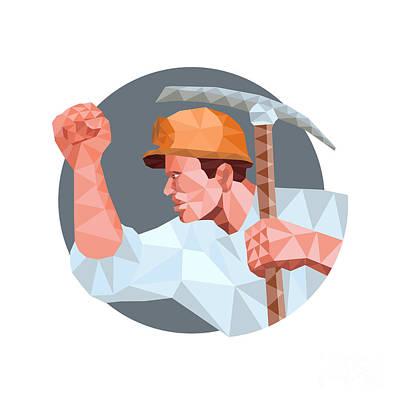 Pick Axe Digital Art - Coal Miner Pick Axe Fist Low Polygon by Aloysius Patrimonio