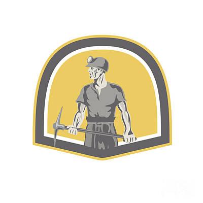 Pick Axe Digital Art - Coal Miner Standing Holding Pick Axe Shield Retro by Aloysius Patrimonio