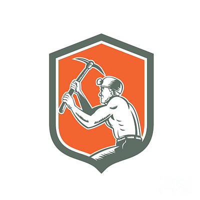 Pick Axe Digital Art - Coal Miner With Pick Axe Shield Retro by Aloysius Patrimonio