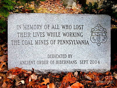 Photograph - Coal Mines Memorial Stone by Janine Riley
