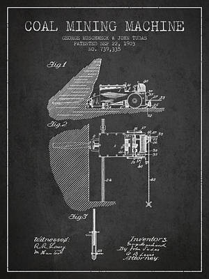 Machinery Drawing - Coal Mining Machine Patent From 1903- Charcoal by Aged Pixel