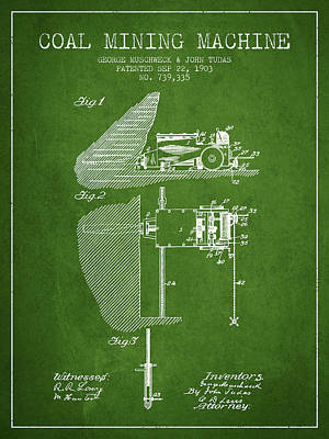 Machinery Digital Art - Coal Mining Machine Patent From 1903- Green by Aged Pixel