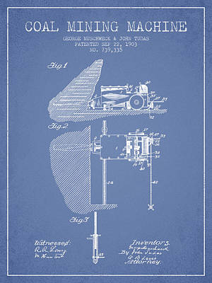 Machinery Drawing - Coal Mining Machine Patent From 1903- Light Blue by Aged Pixel