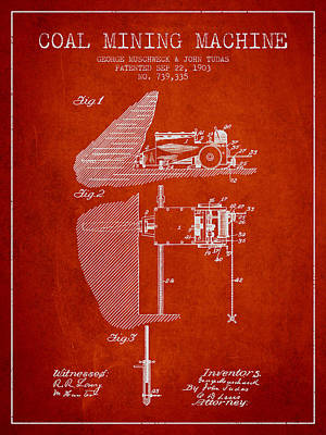 Machinery Digital Art - Coal Mining Machine Patent From 1903- Red by Aged Pixel