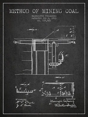 Machinery Drawing - Coal Mining Patent From 1903- Charcoal by Aged Pixel