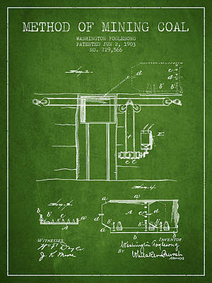 Machinery Digital Art - Coal Mining Patent From 1903- Green by Aged Pixel