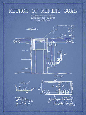 Machinery Drawing - Coal Mining Patent From 1903- Light Blue by Aged Pixel