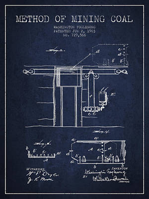 Machinery Drawing - Coal Mining Patent From 1903- Navy Blue by Aged Pixel