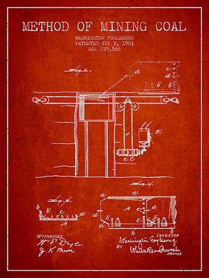 Machinery Digital Art - Coal Mining Patent From 1903- Red by Aged Pixel