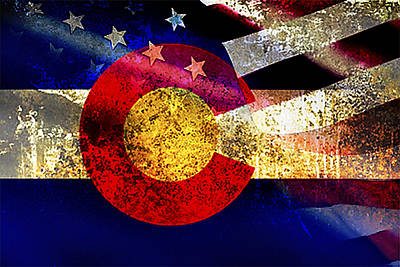 Colorado State Flag Photograph - Coamerican Flag by Tracy E Clark