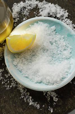 Coarse Salt With Lemon And Olive Oil Art Print