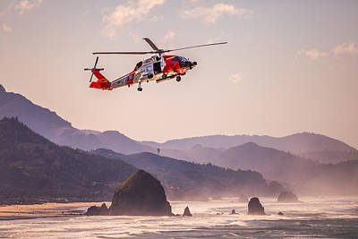 Photograph - Coast Guard And Haystack Rock by Joseph Bowman