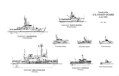 Marine Life Drawing - Coast Guard Cutters Of The 1990's by Jerry McElroy - Public Domain Image