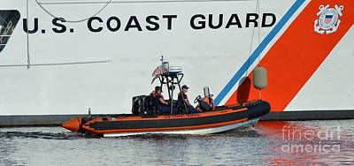 Photograph - Coast Guard Escort by Bob Sample