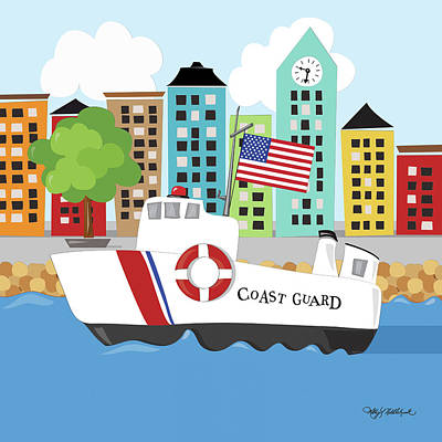 Police Painting - Coast Guard by Kathy Middlebrook