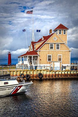 Muskegon Lighthouse Wall Art - Photograph - Coast Guard Station On Muskegon Lake by Debra and Dave Vanderlaan