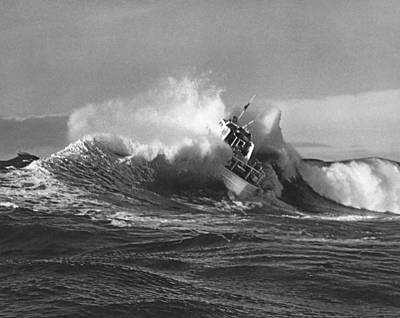Splatter Photograph - Coast Guard Surf Rescue Boat by Underwood Archives