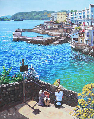 Painting - Coast Of Plymouth City Uk by Martin Davey