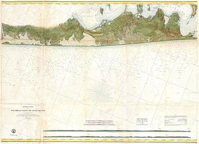 Coast Survey Map Of Eastern Long Island Hamptons Amagansett Art Print by Paul Fearn