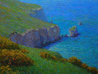 Oil Painting - Coast Tunnel Beach by Terry Perham