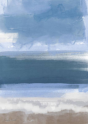 Abstract Landscape Royalty-Free and Rights-Managed Images - Coastal- abstract landscape painting by Linda Woods