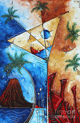 Coastal Art Contemporary Tropical Martini Painting Whimsical Design Island Martini By Madart Original by Megan Duncanson