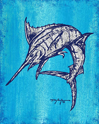 Blue Marlin Mixed Media - Coastal Art Escape The Blue Marlin by William Depaula