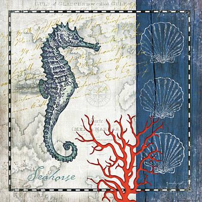 Coastal Blue Seahorse Art Print