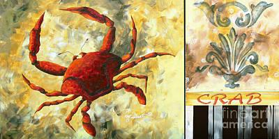 Coastal Crab Decorative Painting Original Art Coastal Luxe Crab By Madart Art Print by Megan Duncanson